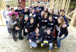 SHU students on a Habitat build in Georgia, one of several spring break service trips.
