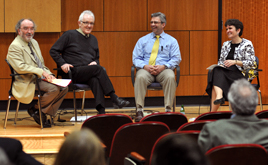 At the Dean's Forum are, from left, Drs. Michael Higgins, Kieran Bonner, Seamus Carey and Kathryn LaFontana.