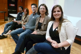 Communication and Media Studies Alumni Roundtable event coordinator Sara Ross, Ph.D., Asst. Professor, Dept. of Communication and Media Studies at SHU (2nd from right), with featured alumni, from left, Dan Nevanpara, Genevieve Manna, Alex Bente and Lacey Gilleran.