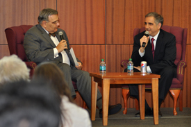 President Petillo interviews Dave Burwick during the Welch MBA Forum.
