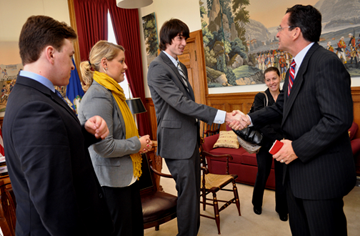 Students James Eagan, Melissa Hancock and CJ Fleck visited with CT Governor Dannel Malloy at the State Capitol in Hartford.