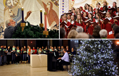 From top left clockwise: Advent Wreath Lighting, Lessons & Carols and the Christmas Tree Lighting Ceremony