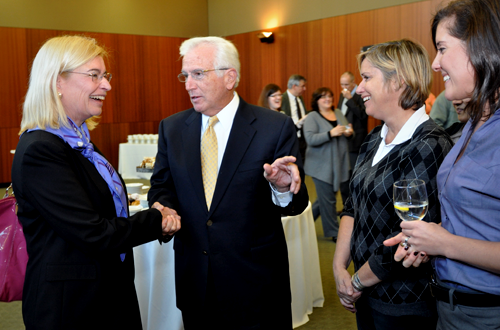 From left are new Provost Laura Niesen de Abruna, Ph.D., Don Cook, Lucy Cox and Heather Lewsey.