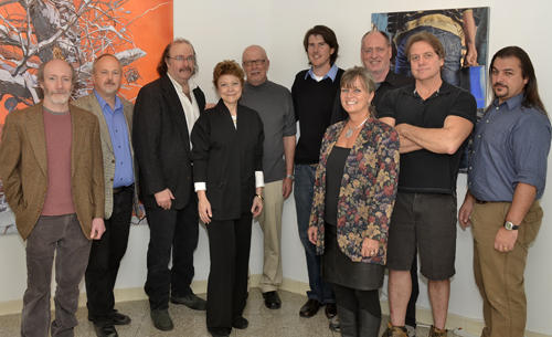 From left are Tom Brenner, Peter Konsterlie, Carl Schumann, Gallery Director Sophia Gevas, Stefan Buda, Nathan Lewis, Mary Treschitta, Jon Walk, Jack deGraffenried and Mike Denysenko