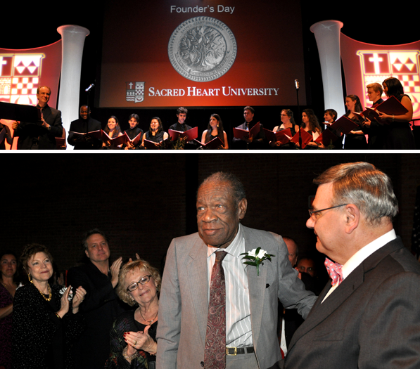 Alvin Clinkscales is applauded for his 40 years of service during the Founder's Day ceremony.