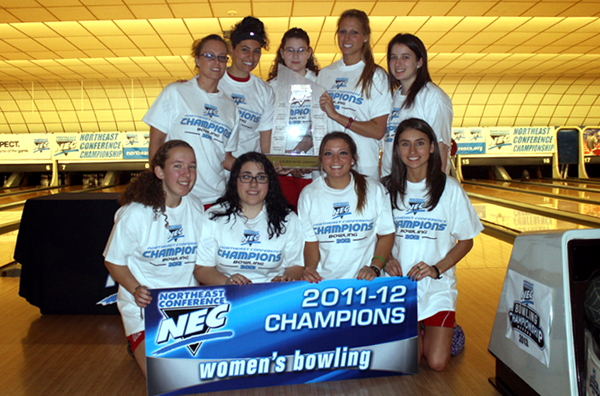 The women's bowling team are 2012 NEC champions.