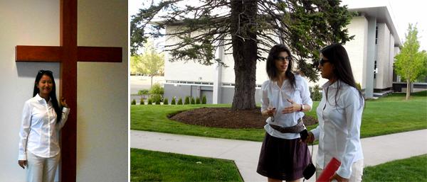 Yin Myo Su, left, tours campus with University College Academic Advisor Andrea Bertolozzi.