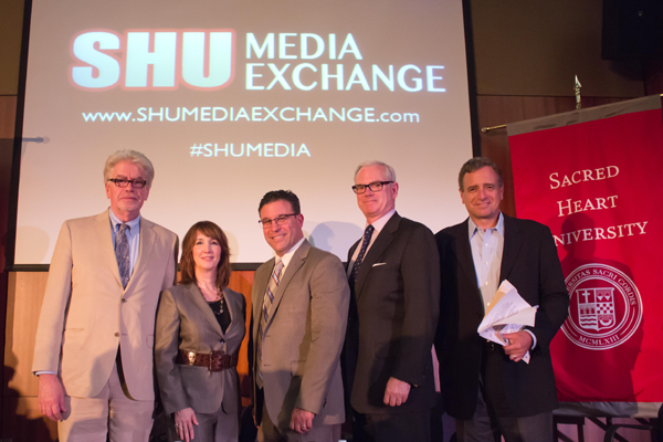 At the inaugural SHU Media Exchange are, from left, Kip Bergstrom, Meryl Moss, Vinnie Fusco, Bud Grebey and John Seigenthaler.  Photo by MACOMM student Cecilia Lopez-Abitang