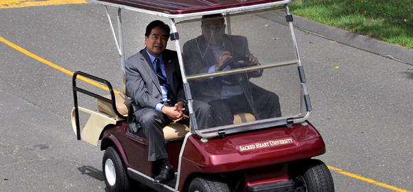 Seton Hall President Gabe Esteban on a tour of campus with President Petillo.