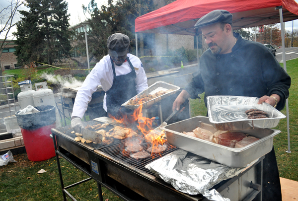 Chartwells chefs grill up a storm outside of McMahon Commons.