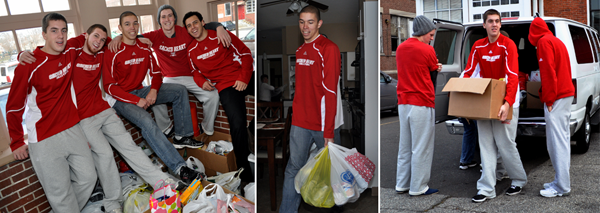 The men's volleyball team delivers food to St. Charles following the athletics food drive.