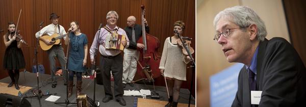 The John Whelan Band, left, and keynote speaker Eamonn Wall