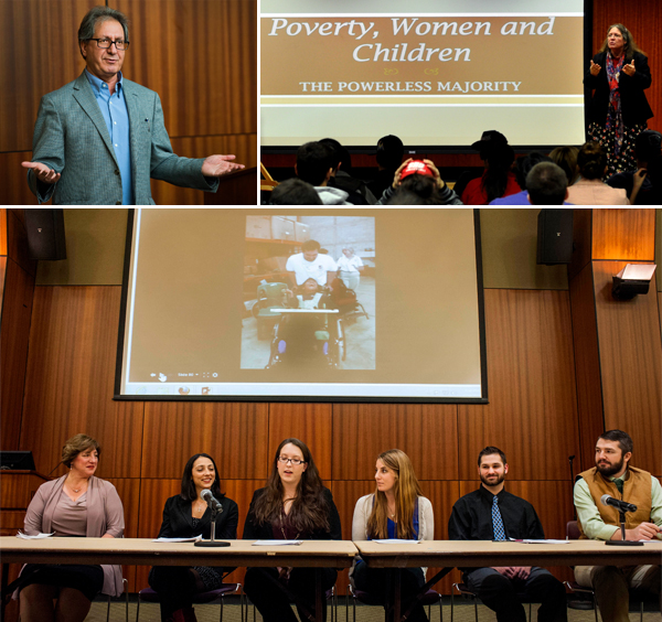 Poverty Colloquia Series - from top left, clockwise, are Dr. Majid Sadigh, Dr. June-Ann Greeley and the student panel at The Ripple Effect.
