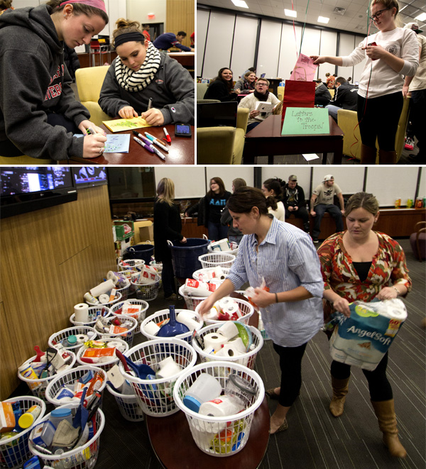 Members of Hearts United and the Class of 2015 prepared care packages for homeless veterans and wrote letters to the troops in Hawley Lounge this week. Photos by Sean Elliott '14