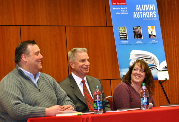 Alumni Authors, from left, are Christopher Conway '92, Adrian Stroud '82 and Dawn Foss '06 '08 MSN.