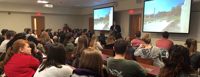 President Petillo speaks with students about tolerance