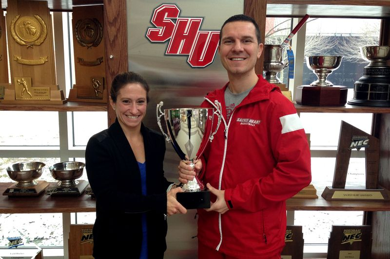 Student Athlete Challenge - women's lacrosse coach Laura Cook and men's basketball coach Anthony Latina