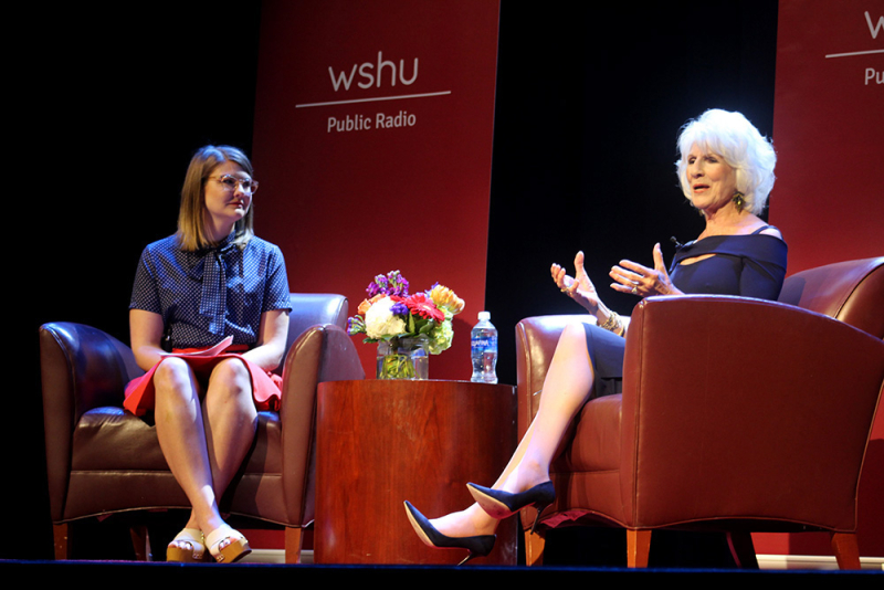 Diane Rehm (right) talks with WSHU's Cassandra Basler at the Edgerton Center