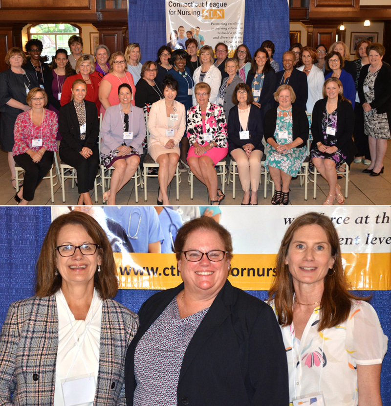 From left are Sue DeNisco  Connecticut League for Nursing President-Elect Ann Spenard '92 MSN and Kerry Milner.
