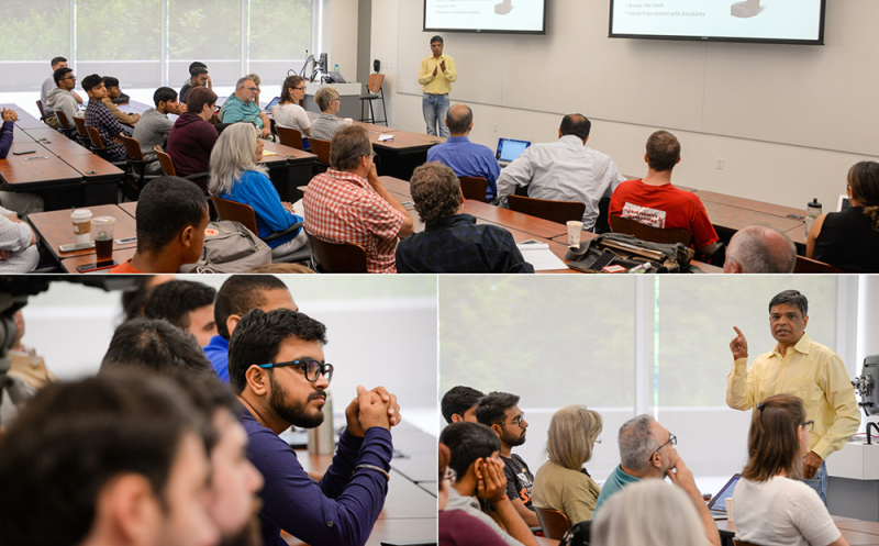 Professor Mehul Raval presents his AI talk at West Campus