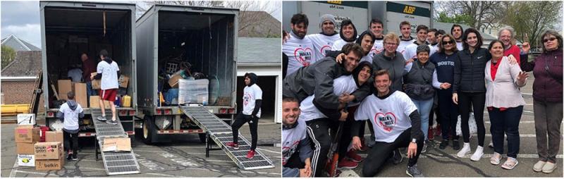 The men's soccer team volunteers.